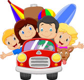 Cartoon vacation with family Royalty Free Stock Images