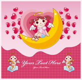 Cartoon Valentine card. Vector drawing Royalty Free Stock Image