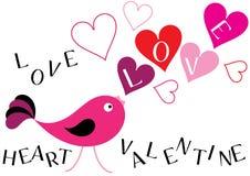 Cartoon valentine card illustration with birds Stock Images