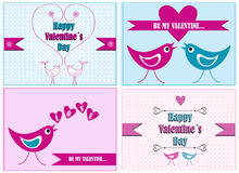 Cartoon valentine cards illustration with birds Stock Images