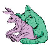 Cartoon valentine couple wolf hugs with a hare Royalty Free Stock Photos