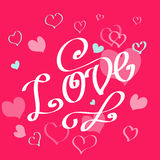 Cartoon valentine day card. With hearts Royalty Free Stock Photo