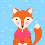 Cartoon valentine day illustration- funny, cute fox. Heard icon. Vector eps 10 Stock Images