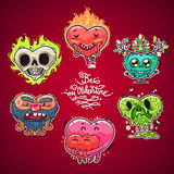 Cartoon Valentine Hearts Set. For Humor Valentine's Day Design or T-Shirt Print. In the EPS file, each element is grouped separately. Clipping paths included in Stock Photography