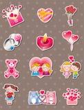 Cartoon Valentine's Day stickers. Cartoon vector illustration Stock Images