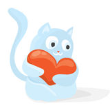 Cartoon Valentines day romantic illustration with blue cat holding big red heart.  Holiday flat vector design, on white background Stock Images