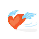 Cartoon valentines day romantic illustration . Red flying heart with wings. Holiday flat vector design,  on white backgrou Royalty Free Stock Photography