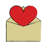 Cartoon valentines day romantic mail heart envelope open Royalty Free Stock Images