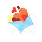Cartoon valentines day romantic mail.  Open envelope with hearts inside. Holiday flat vector design,  on white background Royalty Free Stock Photo