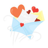 Cartoon valentines day romantic mail.  Open envelope with hearts and recognition. Holiday flat vector design,  on white ba Stock Images