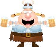 Cartoon Valkyrie Drinking Beer Stock Photo