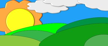 Cartoon Valley with Clouds Royalty Free Stock Image