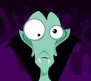 Cartoon Vampire. A cartoon of a pale green vampire against a violet background stock illustration