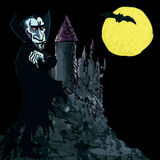 Cartoon Vampire with a castle Stock Photography