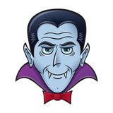 Halloween Vampire with Creepy Grin. Cartoon of a vampire with creepy looking grin with fangs for Halloween royalty free illustration