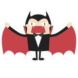 Cartoon vampire. Dracula Cartoon. Count Dracula. Dracula Cartoon on white background. Vector illustration. All in a single layer stock illustration