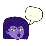 Cartoon vampire face with speech bubble Royalty Free Stock Image