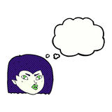 Cartoon vampire face with thought bubble Royalty Free Stock Image