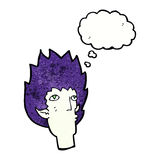 cartoon vampire face with thought bubble vector illustration