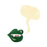 Cartoon vampire fangs with speech bubble Stock Photography