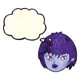 Cartoon vampire girl face with thought bubble Stock Photos