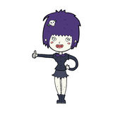 Cartoon vampire girl giving thumbs up sign Stock Photo