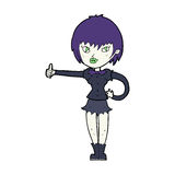 cartoon vampire girl giving thumbs up sign Royalty Free Stock Photo