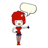 Cartoon vampire girl giving thumbs up sign with speech bubble Stock Images