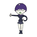 cartoon vampire girl giving thumbs up symbol Royalty Free Stock Photography