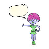 Cartoon vampire girl giving thumbs up symbol with speech bubble Stock Image