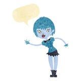 Cartoon vampire girl welcoming with speech bubble Stock Photos