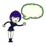 Cartoon vampire girl welcoming with speech bubble Royalty Free Stock Photos