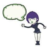 Cartoon vampire girl welcoming with speech bubble Stock Photography