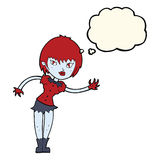 Cartoon vampire girl welcoming with thought bubble Stock Photos