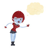 Cartoon vampire girl welcoming with thought bubble Royalty Free Stock Photography