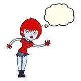 Cartoon vampire girl welcoming with thought bubble Stock Images