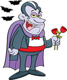 Cartoon vampire holding roses. Stock Photos