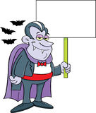 Cartoon vampire holding a sign. Royalty Free Stock Images