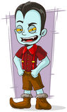Cartoon vampire kid in red shirt Stock Images
