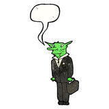 Cartoon vampire lawyer. Retro cartoon with texture. Isolated on White Royalty Free Stock Photo