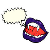 cartoon vampire lips with speech bubble Stock Images