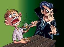 Cartoon vampire scared of garlic. Cartoon vampire scared of kid eating garlic Stock Photography