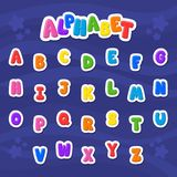Cartoon vector Alphabet. Large Letter. Font. Blue background royalty free illustration