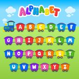 Cartoon vector Alphabet. Large Letter. Font. Train. Education royalty free illustration