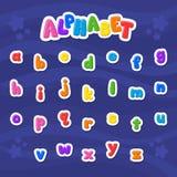 Cartoon vector Alphabet . Small Letter. Font. Blue background royalty free illustration