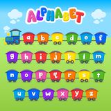 Cartoon vector Alphabet. Small Letter. Font. Train. Education clipart vector illustration