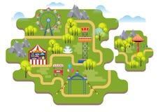 Cartoon vector amusement park map background isolated. stock illustration
