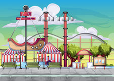 Cartoon vector amusement park with separated layers for game and animation royalty free illustration