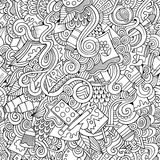 Cartoon vector art and craft seamless pattern Stock Images