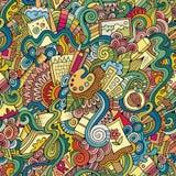 Cartoon vector art and craft seamless pattern Royalty Free Stock Photo